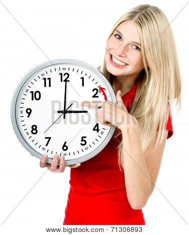 Young Woman Holding A Clock. Winter Time