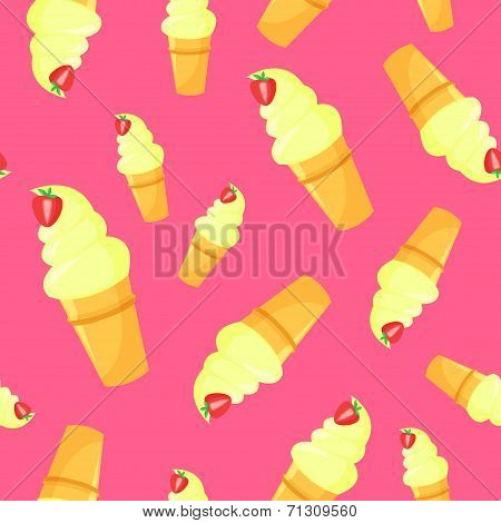 Vector Colorful Cartoon Waffle Ice Cream With Strawberry Seamless Pattern