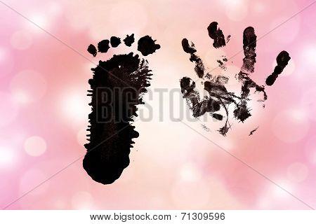 Ink Watermark Baby Hand Footprints On Pink Background