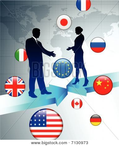 Business Couple On World Map Background With Internet Flag Butto