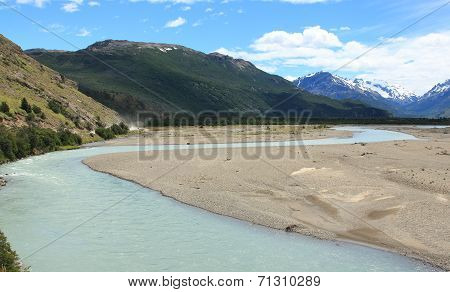 Wide river and mountains, Patagonia, Argentina