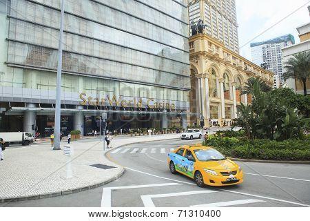 Macau China-august 22 Front View Of Star World Casino Big And Luxury Casino Hotel In Heart Of Macau