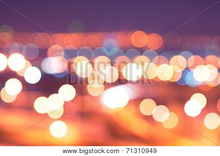 Sparkling And Defocused Lights Background. Blue Bokeh Background.
