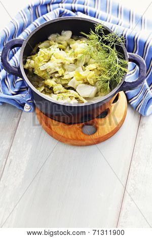 pot of deliicious stew cabbage - food and drink