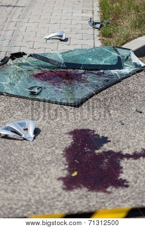 Blood On The Street After Car Accident
