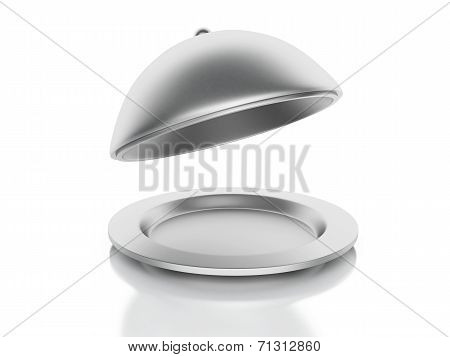Silver Restaurant Cloche On A White Background