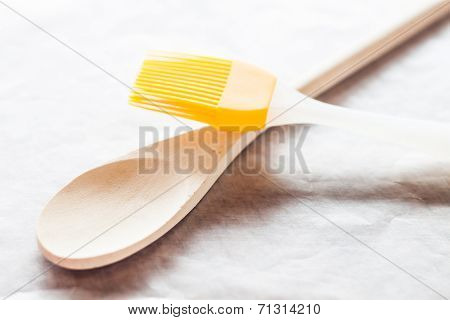 Spoon And Brush On Baking Paper