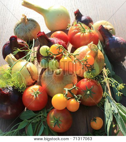 Fresh vegetables-onion, tomato and herbs