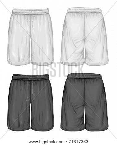 Men's sport shorts. Vector illustration. Spot colors only.