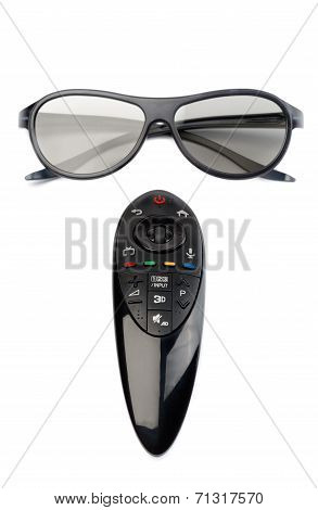 3D Glasses And Remote Control Tv.
