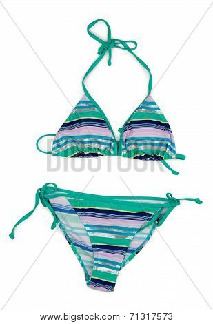Fashionable Striped Swimsuit.