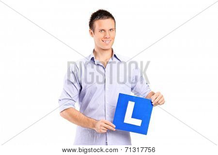 Young man holding a L sign isolated on white background