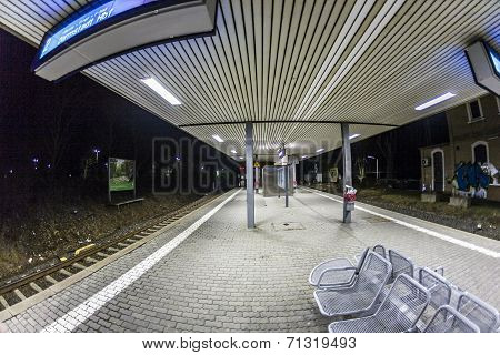 Empty Train Station In Early Morning