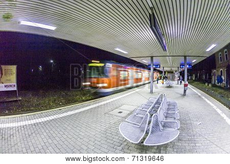 Arriving Train  At Train Station In Early Morning
