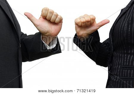Man And Woman  Pointing To Itself