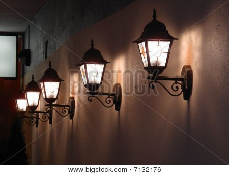 Wall Lights On A Street In Tallinn