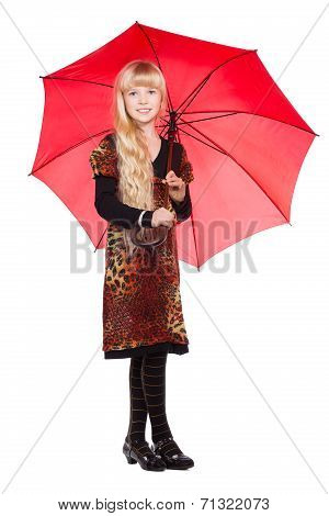 Little Blond Girl With Umbrella