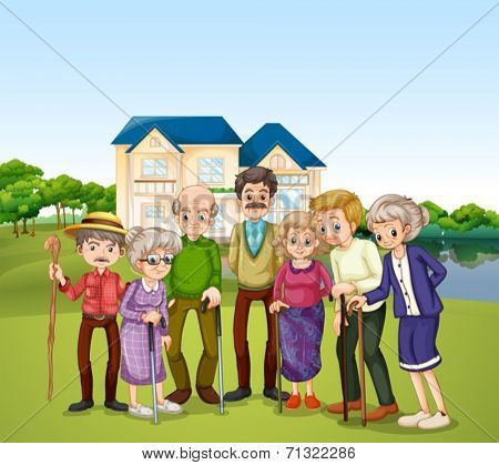 Illustration of elderly at the nursing home