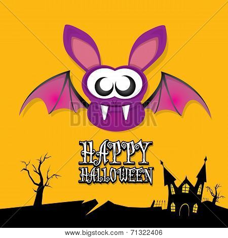vector happy halloween card with bat