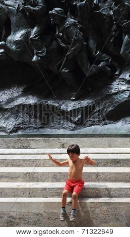 Child Play On Monument