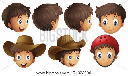Illustration of a boy head in different positions