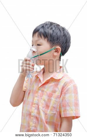 Little Asian Boy With Asthma Using Oxygen Mask