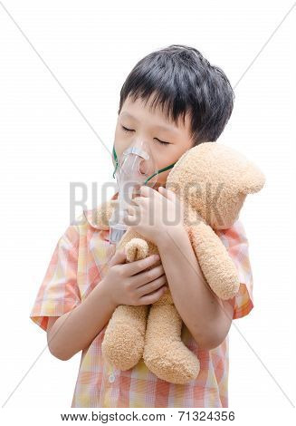 Little Boy Using Oxygen Mask