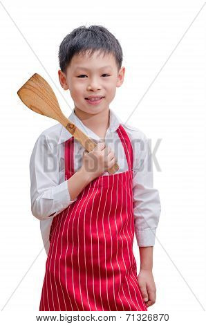 Asian Boy Chef With His Flipper