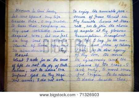 SKOPJE, MACEDONIA - MAY 17: Hand written prayer book of Mother Teresa, written in 1949 and used daily by Mother Teresa until the '70s, Memorial House in Skopje, Macedonia on May 17, 2013