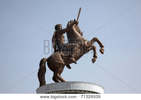 SKOPJE, MACEDONIA - MAY 17: Statue of Alexander the Great in downtown of Skopje, Macedonia on May 17, 2013