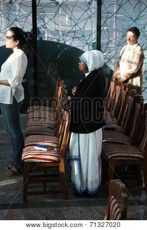 SKOPJE, MACEDONIA - MAY 18: Mass in Chapel in Mother Teresa Memorial House in Skopje, Macedonia on May 18, 2013.