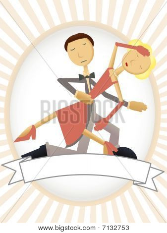 Dancing couple inside copyspace oval ad