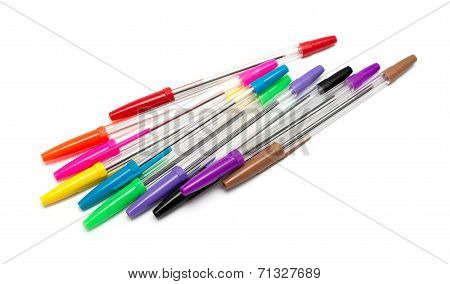Colorful Pens Isolated On White