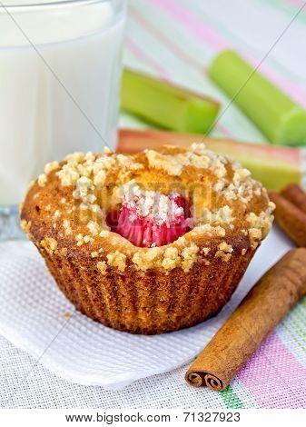 Cupcake With Rhubarb And Milk On Napkin