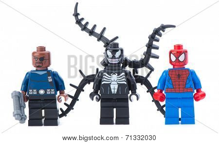 Ankara, Turkey - January 24, 2014: Lego Marvel super heroes including spiderman, venom and Nick Fury isolated on white background.