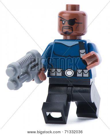 Ankara, Turkey - January 24, 2014: Lego Marvel super hero Nick Fury isolated on white background