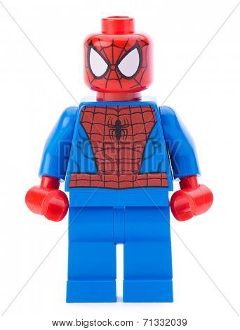 Ankara, Turkey - January 24, 2014: Lego Marvel super hero spiderman isolated on white background