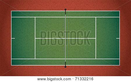 Realistic Textured Tennis Court Illustration