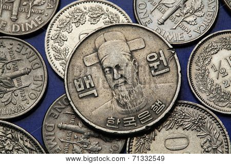 Coins of South Korea. Korean naval commander Yi Sun-sin depicted in South Korean one hundred won coin.