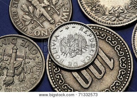 Coins of Bolivia. Bolivian national coat of arms depicted in Bolivian two centavos coin.
