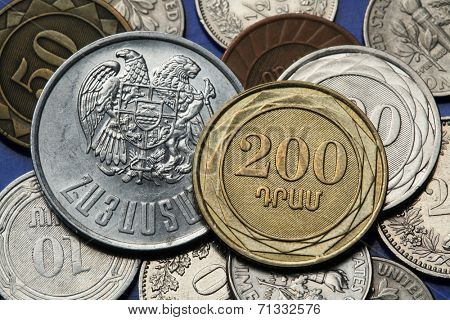 Coins of Armenia. Armenian two hundred dram coin and Armenian national coat of arms depicted in Armenian dram coins.
