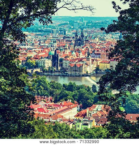 bird's-eye view on the Prague. instagram filter effect
