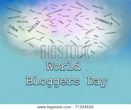 Blogger Day concept illustration with an abstract information cloud