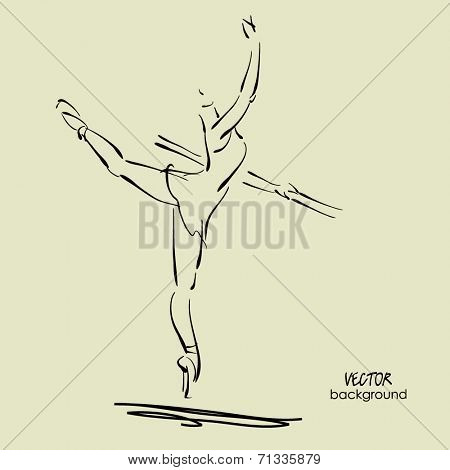 art sketch of beautiful young ballerina in ballet pose in class at barre