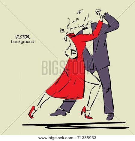 art sketched tango dancers in vector
