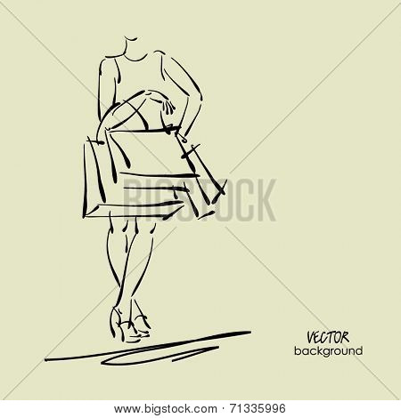 art sketch sale background with standing young woman in dress and space for text