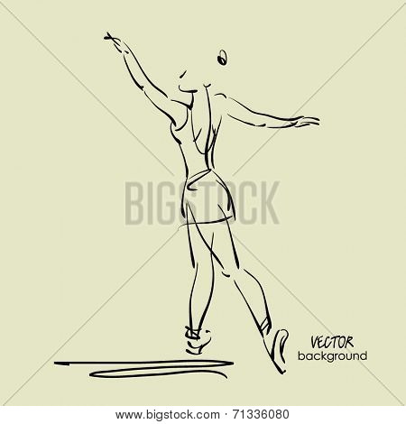 art sketch of beautiful young ballerina in ballet pose in class