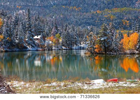 Amazing landscape in Colorado with tree reflections in Lake Lenore