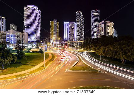 Broadbeach cityscape and night traffic trails