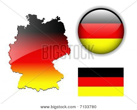 German, Germany flag, map and glossy button.